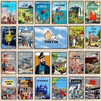 【YZFQ 】Tintin cartel de Metal Vintage placas de Metal de la pared cartel Bar arte niños habitación Decoración Retro cartel 30X20CM DU-6238A