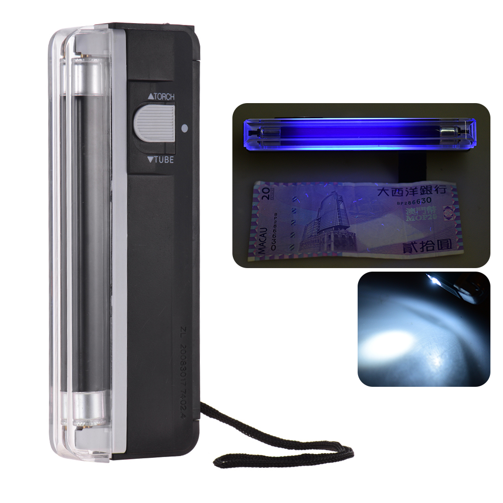 2-in-1 Counterfeit Cash Currency Banknote Bill Checker Tester Money Detector Portable Mini With UV Light Flashlight For USD