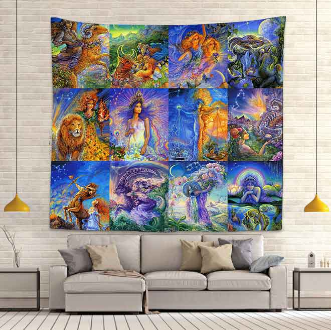 Simsant Star Sign Constellation Tapestry Taurus Capricorn Aries Sexy Beauty Wall Hanging Tapestry for Bedroom Decor GT2TSILS992(China)