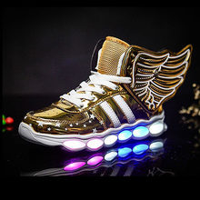 Kids Light Up Shoes With Wing 2019 New Kids USB Luminous Sneakers Glowing Kids Sport Flashing Lights Casual Shoes For Girls Boys(China)