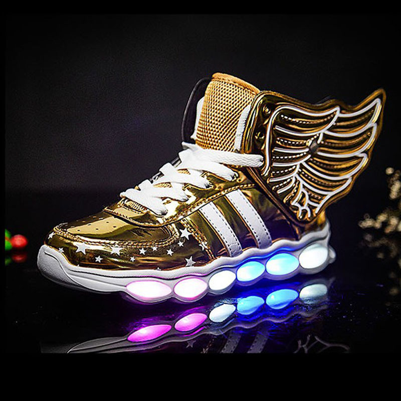 Wings Children's LED Lights Shoes Colorful Luminous Shoes USB Charge Kids Light Sneakers Shoes Baby Boys Girls Sport Boots
