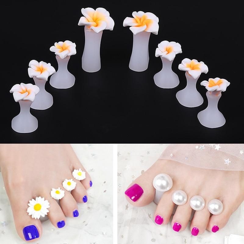 8pcs Silicone Toe Separator Braces Toe Corrector Tool Pedicure Waterdrop Crystal Daisy Diamond Separator Foot Care Tools