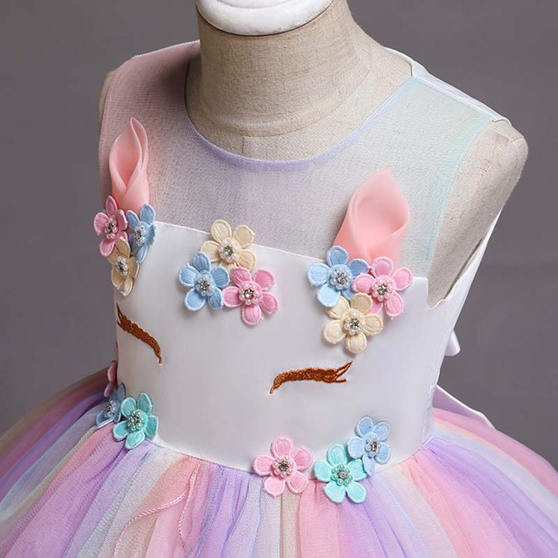 Unicorn Costume Kids Rainbow Tutu Dress Children Clothing Toddler Girl Party Birthday Outfits Baby Christening Colorful Gowns in Dresses from Mother Kids