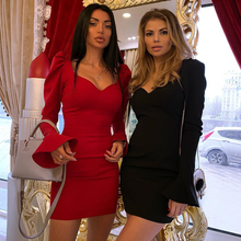 2019 Brand New Luxury Dress Party Evening Elegant Women Dress Deep V neck Long Sleeve Sexy Bodycon Dresses Mini Autumn Black Red