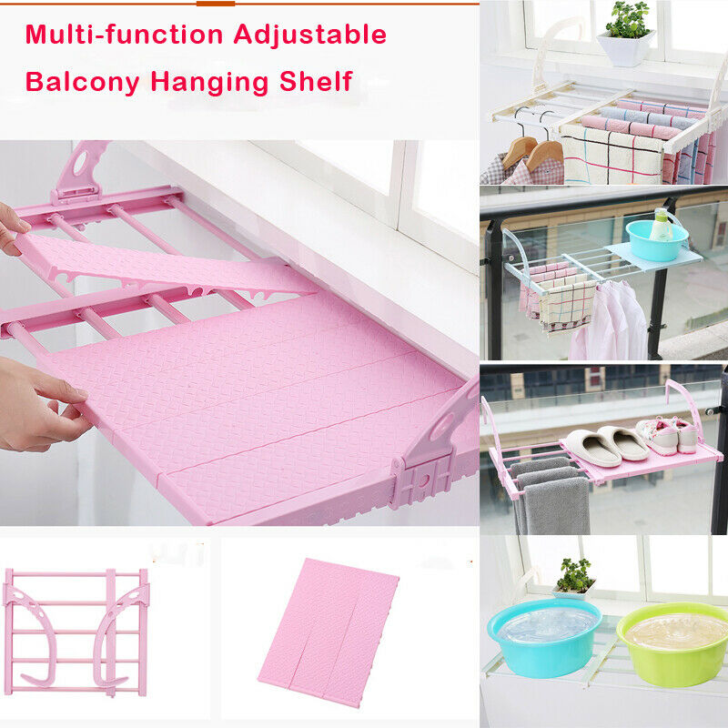 Multi-function Adjustable Home Balcony Hanging Shelf Clothes Shoes Drying Racks