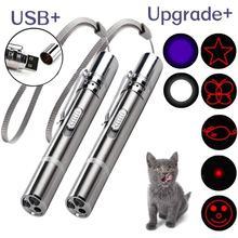 Vara engraçada de aço inoxidável do gato com corda usb recarregável led ponteiro de luz vermelha caneta ferramentas de treinamento do gato