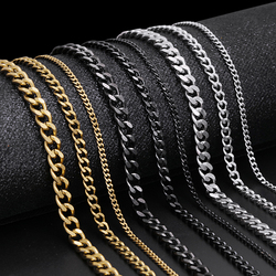 ZOSHI Trendy Cuban Link Chains Necklace for Women Mens Basic Punk Stainless Steel Necklace Vintage Black Gold Tone Choker