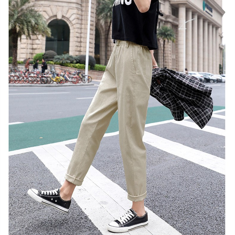Casual Harem Pants High Waist Pants Pleated Vintage Solid Women Straight Trousers Loose Plus Size Pants