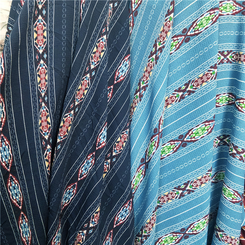 150cm * 100cm New National Style Striped Prints Paris Pearl Fabric Shirt Beach Dress Costume Fabric Seersucker Half-Meter Price
