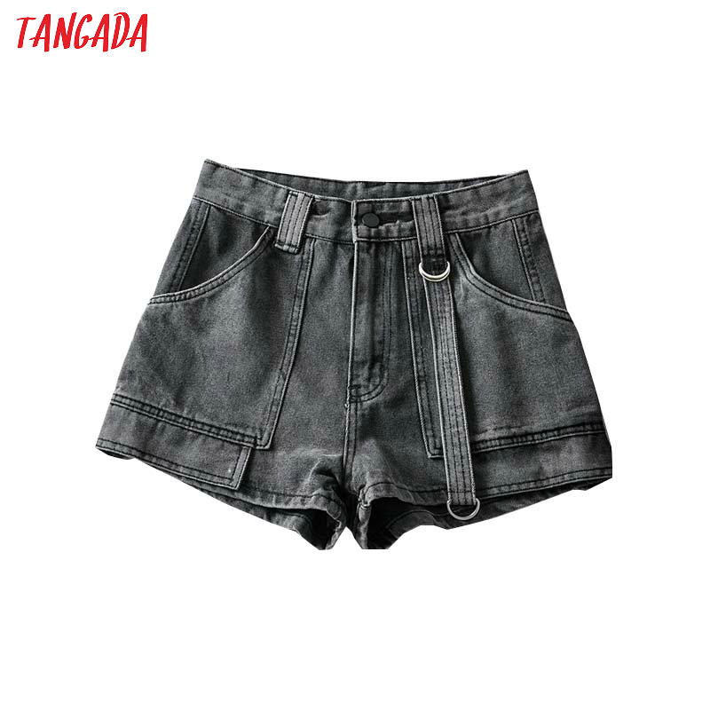 Tangada Women Stylish Summer 2020 Shorts Jeans Pockets Female Casual Streetwear Blue Short Jeans Pantalone 2A03