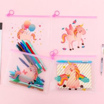 24 unids/lote caja de lápices unicornio Arco Iris gran capacidad bolsa de PVC para plumas bolsa de papelería regalo suministros escolares canetas Zakka