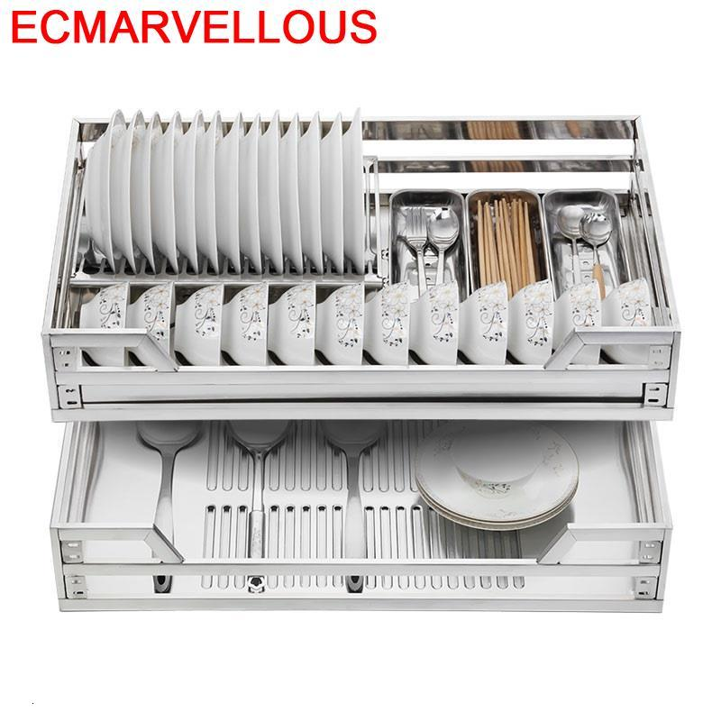 Dish Cestas Corredera Keuken Cupboard Accessories Organizer Stainless Steel Cuisine Cocina Rack Kitchen Cabinet Storage Basket