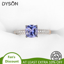 925 Sterling Silver Gemstone Ring Created Tanzanite Rose Gold Plated For Women Elegant Anniversary Love Gift Luxury Fine Jewelry