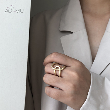 AOMU 2020 New Double Layer Cross Knot Simple Metal Wide Noodle Mobius Ring for Women Girls Party Adjustable Geometric Jewelry