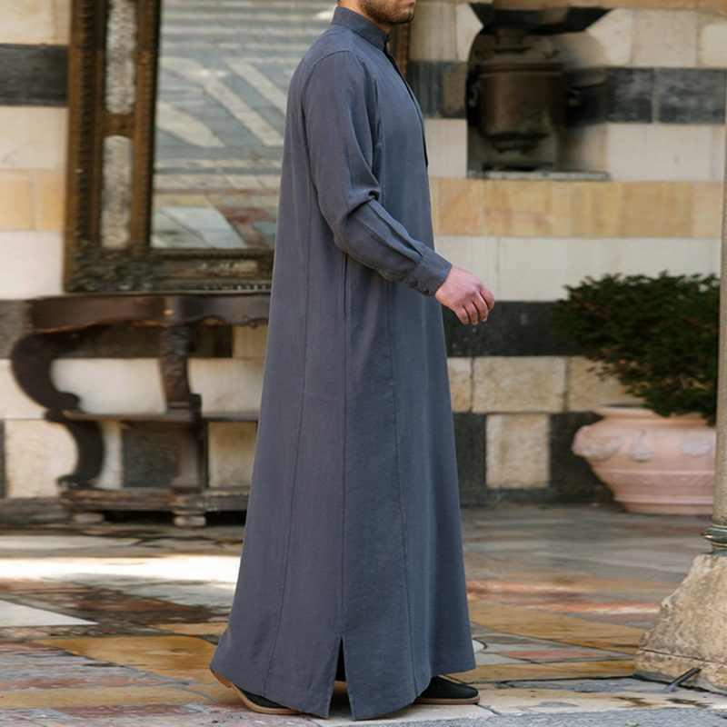 MJARTORIA メンズ服ローブ長袖サウジアラビアアラブ Jubba トーブ男カフタンミドルイスラム Jubba トーブイスラム教徒ドレッシング