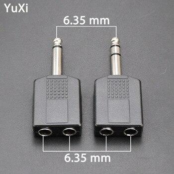 цена на YuXi 6.35 mm 1/4 Male Stereo Plug To Double 6.35 Female Jack Audio Adapter Connector Audio Converter Plug