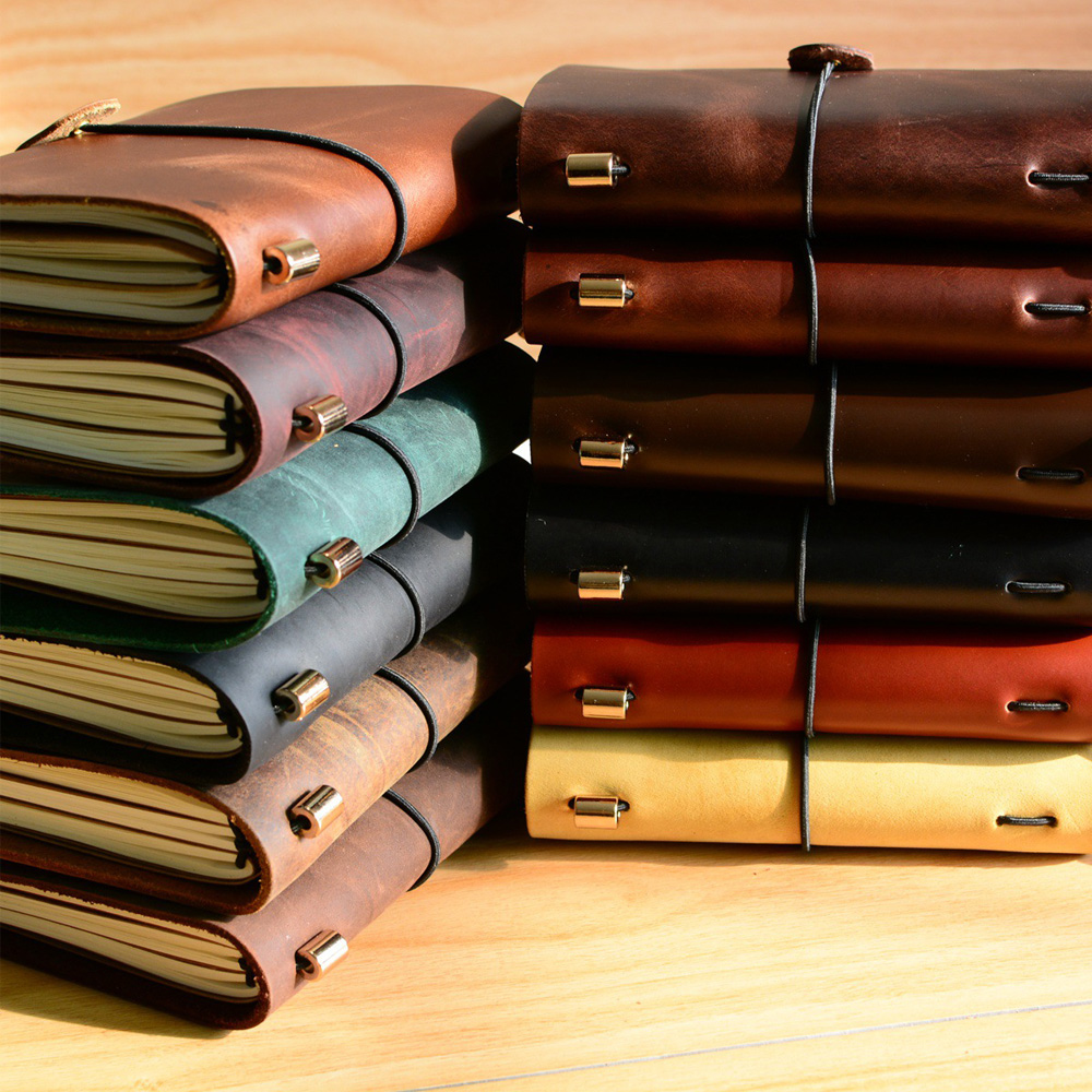 Fromthenon Vintage Leather Notebook Handmade Vintage Cowhide Diary Journal Sketchbook Travelers Notebook Traveler Notepad