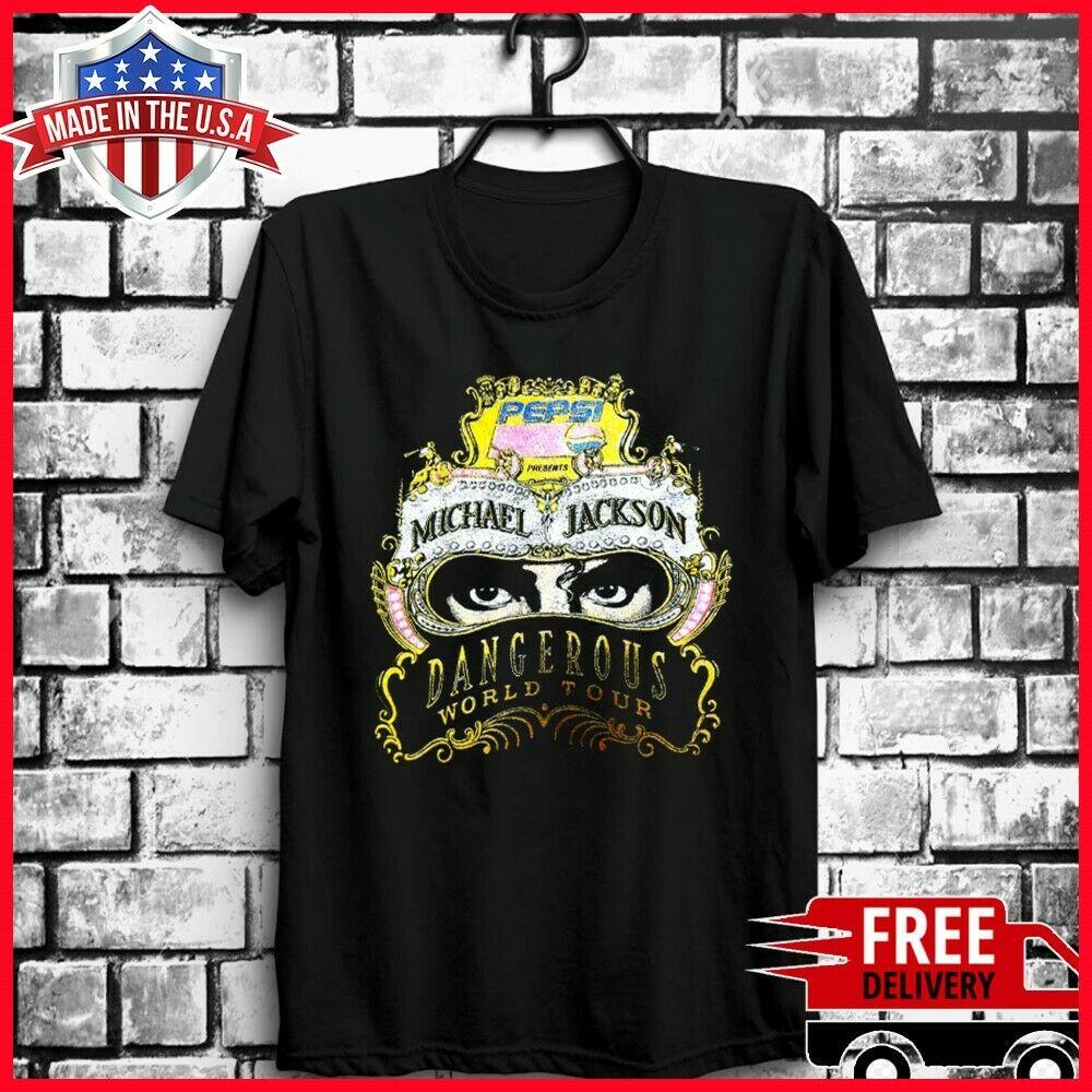 VTG Rare Michael Jackson T Shirt Dangerous World Tour Tokyo 1992 S-6XL Print Tee For Male