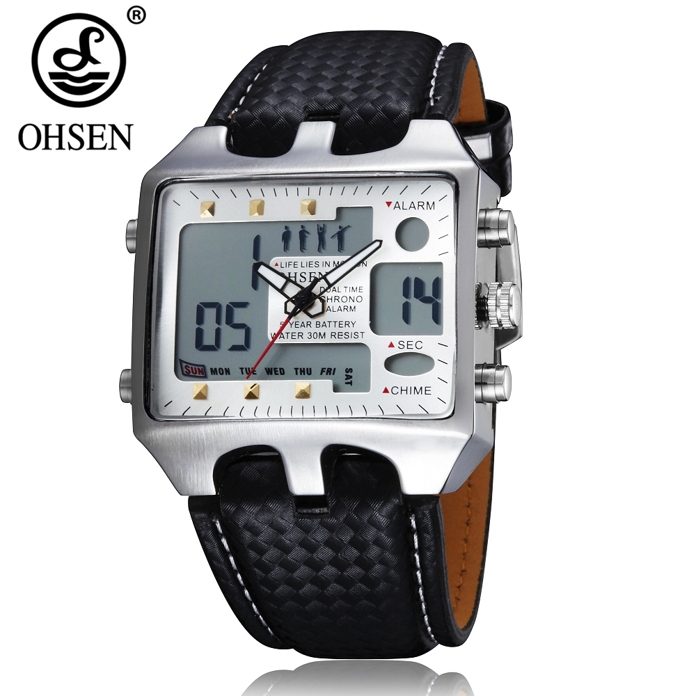 OHSEN Dual time man quartz Watch leather strap fashion white military Men's Wristwatch Outdoor sport Waterproof male clock Gift