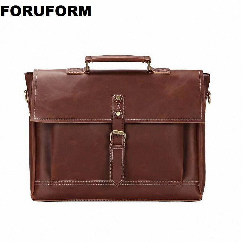 Men Briefcase Crazy Horse PU Leather Bags Handbags Office Bags For Mens Shoulder Bag Men Leather Laptop Totes Bag ZH-228