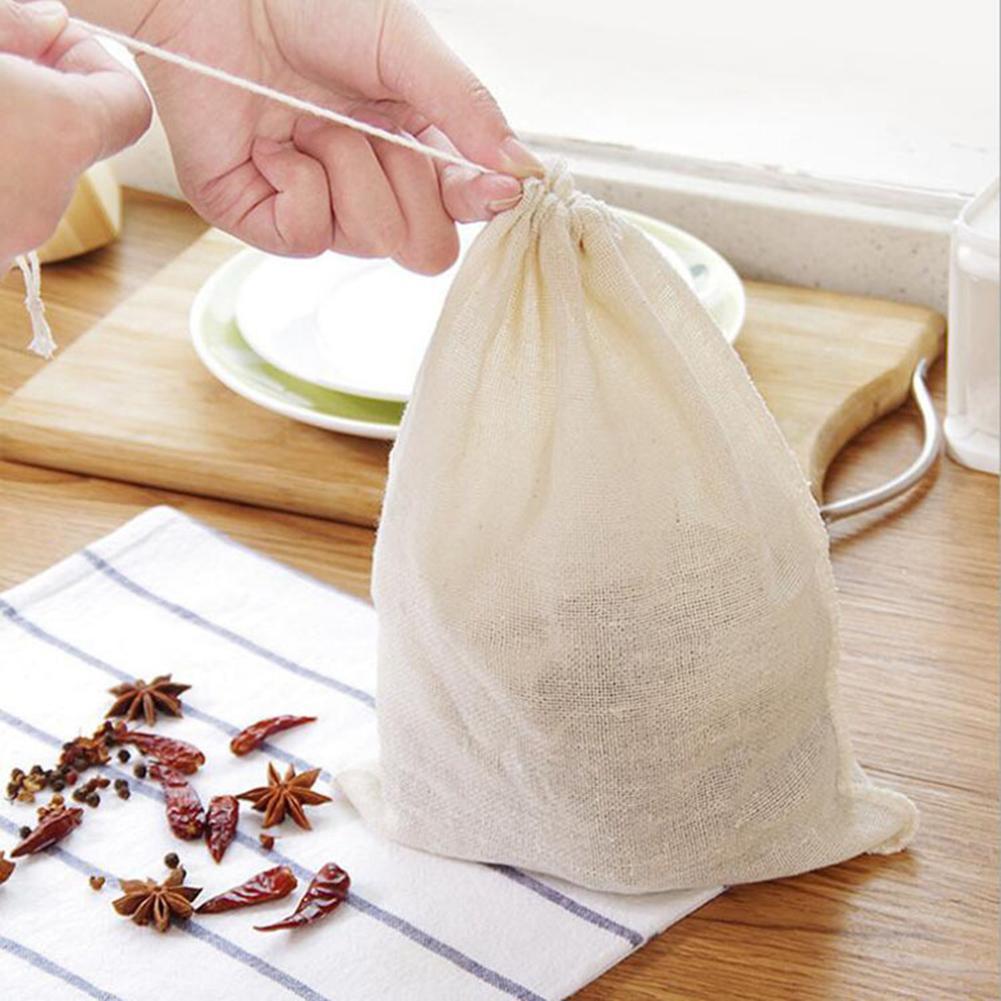 5PCS/Set Reusable Food Filter Mesh Bag Nut Milk Bean Muslin Fish Soup Cook Boiling Kitchen Supplies
