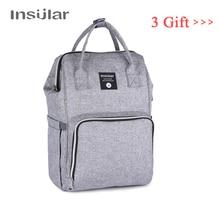 insular рюкзак для мамы Водонепроницаемые сумка для коляски, Детские сумки для подгузников, сумка для мам, Большая вместительная сумка для подгузников, для путешествий, серая молния сумка на коляску