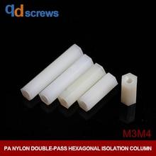 PA M3M4 Plastic Nylon Double-pass Screw Hexagonal Isolation Column Nut through hole