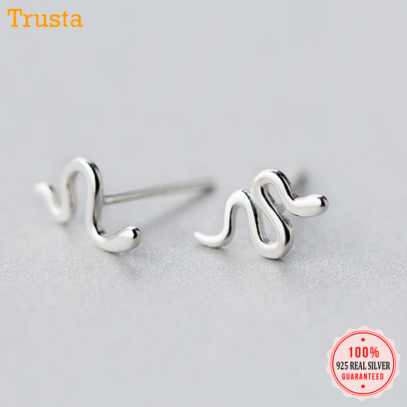 Trustdavis Authentic Minimalist 100% 925 Sterling Silver Fashion Cute Tiny Snake Stud Earring For Women Wedding Party Gift DS114