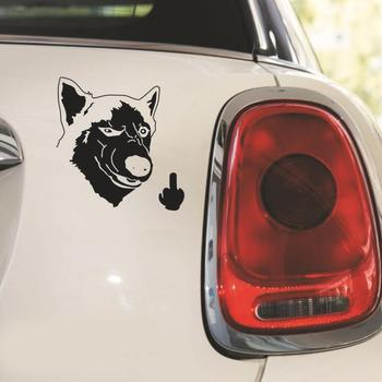 Funny Cool Serious Husky Dog Flipping Finger Car Truck SUV Laptop Sticker Decal image