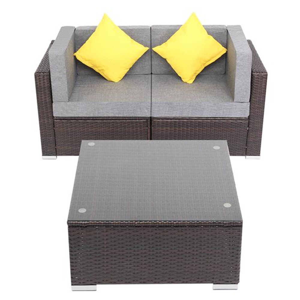 3 Pieces Patio PE Wicker Rattan Corner Sofa Set Outdoor Sofa Set For Garden