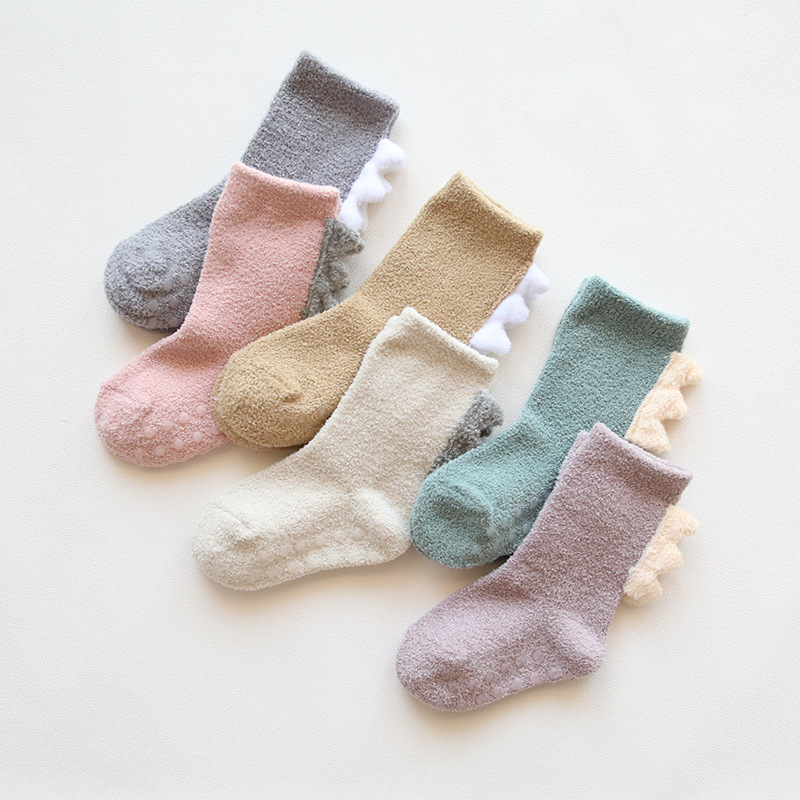 Thicken Solid Knee Socks For Girls Coral Fleece Kids Long Socks Winter Warm Children's Socks For Boys Dinosaur Design