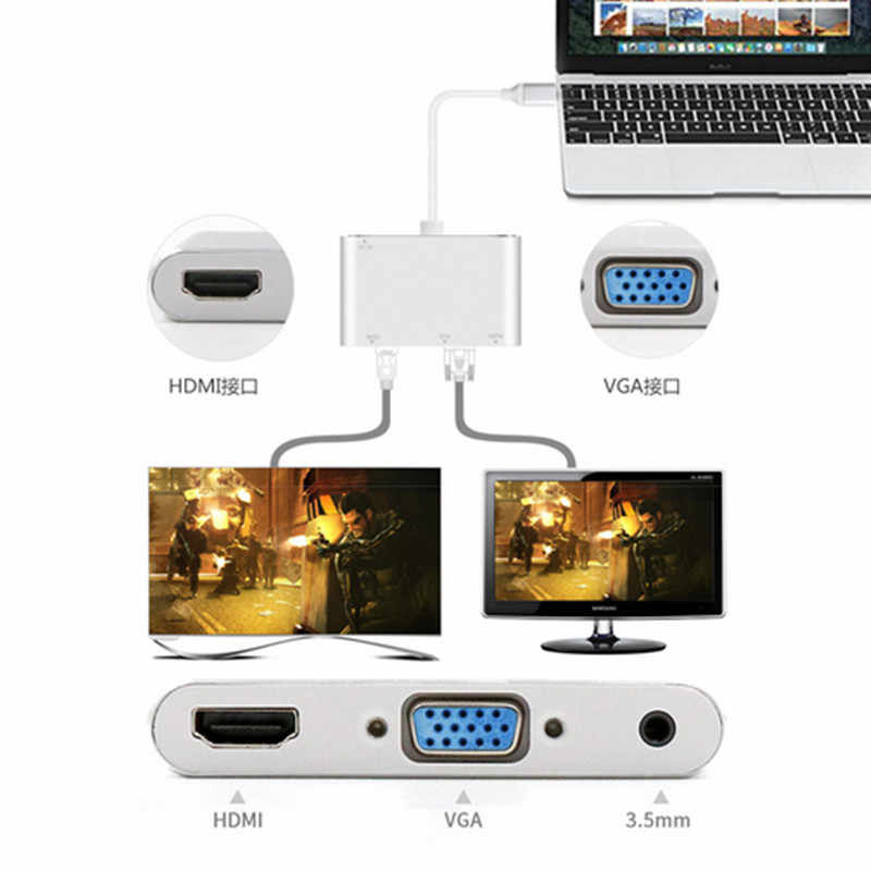 Combo USB 3,1 tipo-C USB-C a HDMI AV Digital y VGA y adaptador de Audio de 3,5mm para el ordenador portátil cuaderno