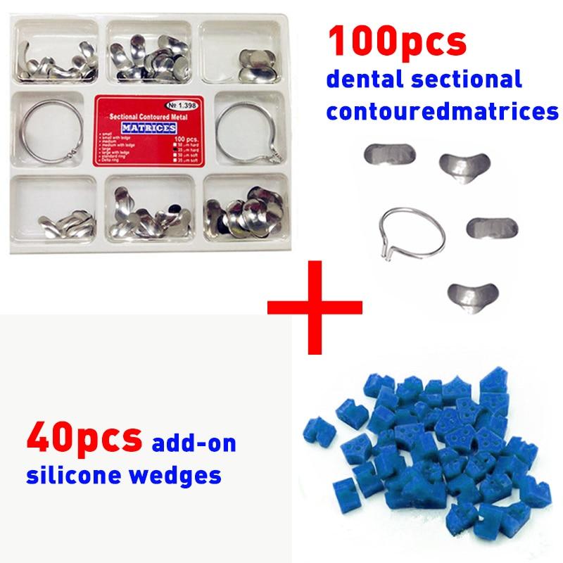 100pcs Mental Dental Sectional Contoured Matrices Matrix Ring Delta + 40pcs Add-On Wedges Blue Dental Tools Dentistry