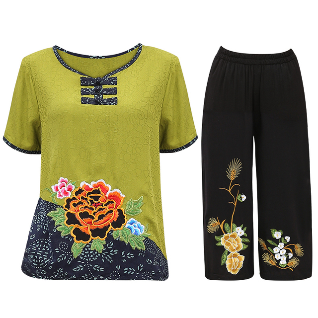 Women Sets 2 Pieces Emulation silk Clothing Set Large Size XL-4XL 2020 Summer Middle aged mother High quality brand Tops+Pants 3