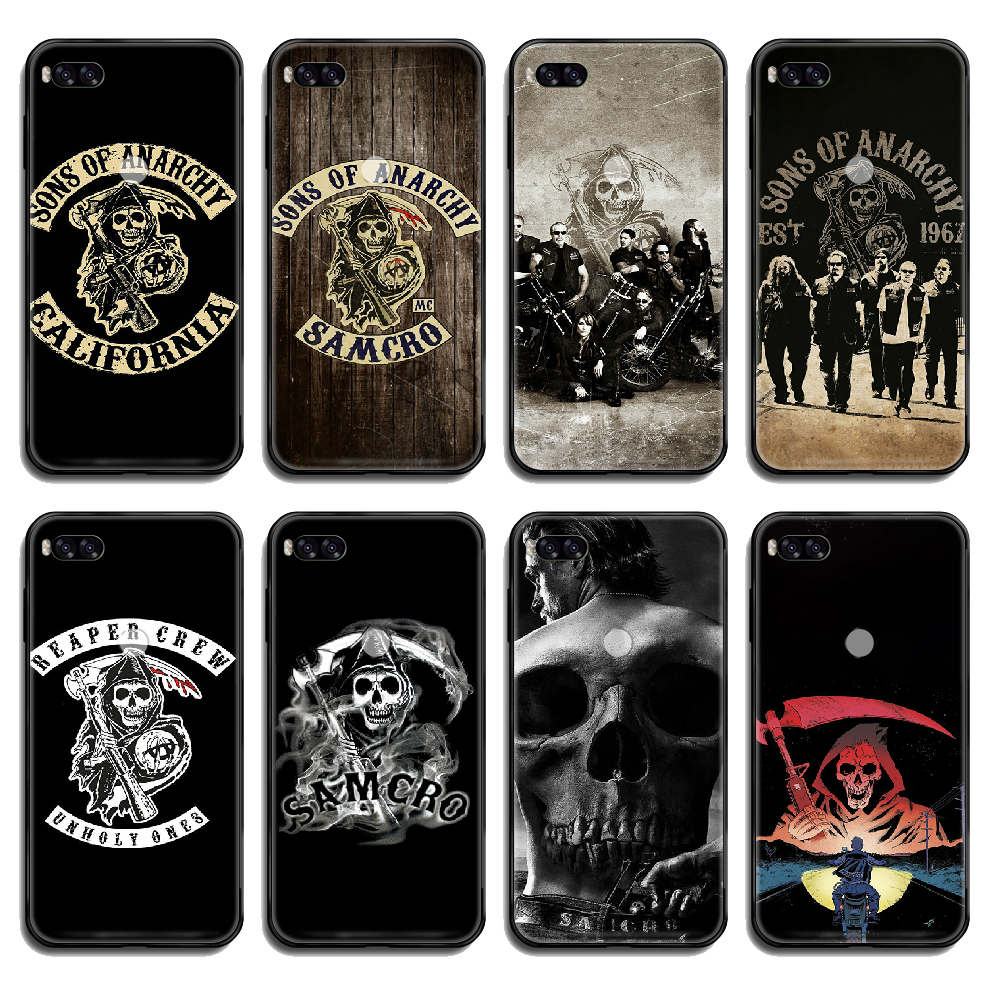 TV Sons of Anarchy Phone case cover hull For <font><b>Xiaomi</b></font> <font><b>Redmi</b></font> Mi <font><b>Note</b></font> <font><b>3</b></font> 5 6 8 9 A1 2 Max3 Mix2 X <font><b>SE</b></font> Lite <font><b>Pro</b></font> black funda <font><b>3D</b></font> back image