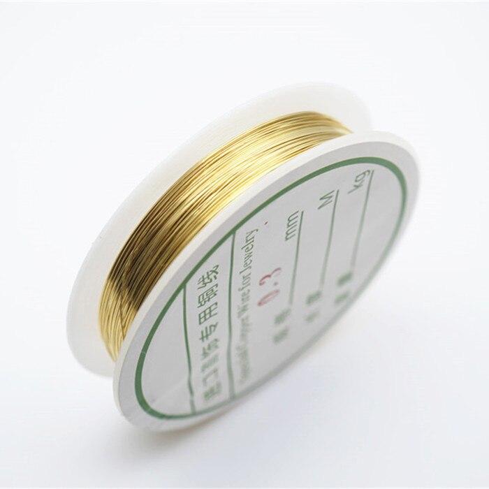 Четырехслойный разноцветный комбинезон серебро Медный провод для браслет Цепочки и ожерелья самодельные Украшения, Аксессуары 0,2/0,25/0,3/0,5/0,6/1,0 мм ремесло Бисер провода HK018 - Цвет: Gold copper wire