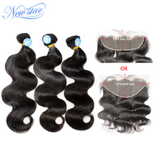 Braziian Body Wave Hair Bundles With Transparent Lace Frontal Closure New Star 10A Raw Virgin Human Hair Weave And Lace Closures(China)
