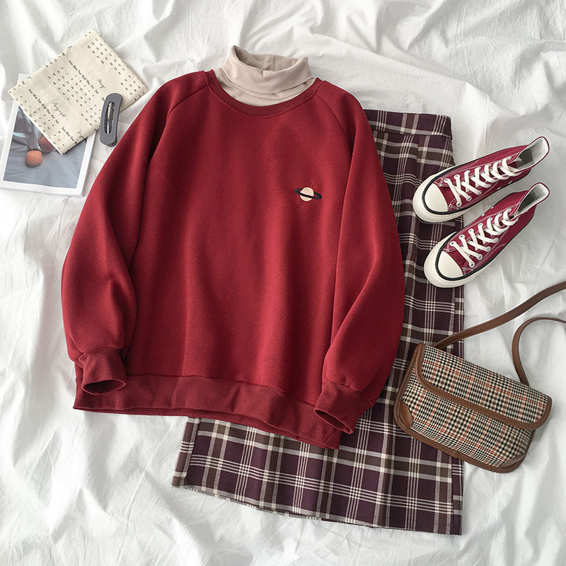 Vintage Casual Skirt Set Women Two Pieces Set Red Print Sweatshirt +High Collar T-shirt+High Waist Plaid Maxi Skirt Matching Set