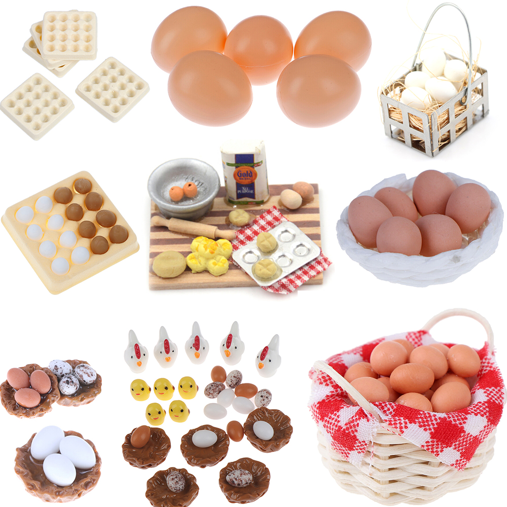 1:12 Scale Dollhouse Miniature Accessories Kitchen Food Mini Egg Basket Egg Trays For Doll House Cooking Game Food Toys