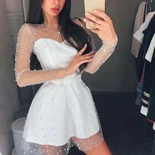 2020 Sexy Frauen Gaze Langarm Slim Fit Party Weiß Kleid Elegante Damen Bankett Pailletten Ballkleid Sommer Mini Kleider(China)