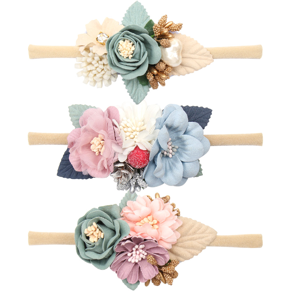 Pearl Flower Headband Baby Nylon Elastic Hair Band Artificial Floral Headwear Newborn Party Bebe Hair Accessories