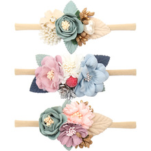 Pearl Flower Headband Baby Nylon Elastic Hair Band Artificial Floral Headwear Newborn Party Bebe Accessories