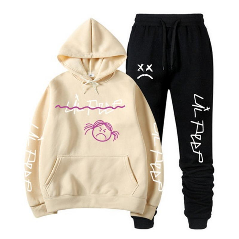 RIP Lil Peep Hoodie Sweatshirt Sets Men/Women Winter Warm Fleece Hoodies Sweatshirts+Sweatpants Suits Hip Hop Pullover Hooded