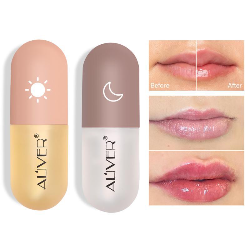 ALIVER Feuchtigkeitsspendende Lip Plumper Serum Kit Lip Gloss Natürlichen Pflanzen Extrakt Lippenstift Enhancer Lip Balm Weihnachten Geschenk TSLM1