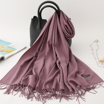 2020 winter scarf solid thick women cashmere scarves neck head warm hijabs pashmina lady shawls and wraps bandana Tassel