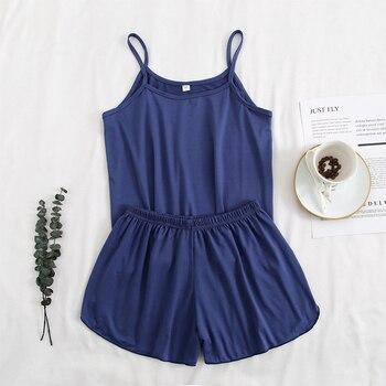 FallSweet Pajamas for Women Summer Solid  Sleepwear Sexy Pyjamas Set  Tank Top Shorts Nightwear 1
