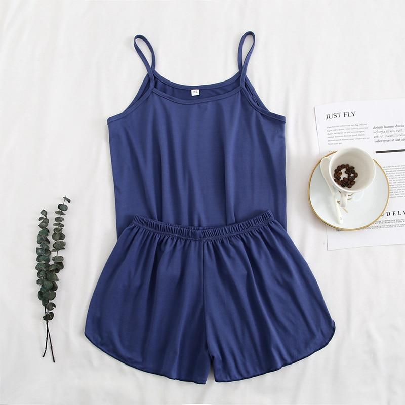 FallSweet Pajamas for Women Summer Solid  Sleepwear Sexy Pyjamas Set  Tank Top Shorts Nightwear|Pajama Sets|   - AliExpress