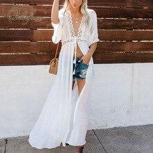 Dress Transparent White Tunic Maxi Long-Cardigan Crochet Sexy Summer Women Lace Ordifree