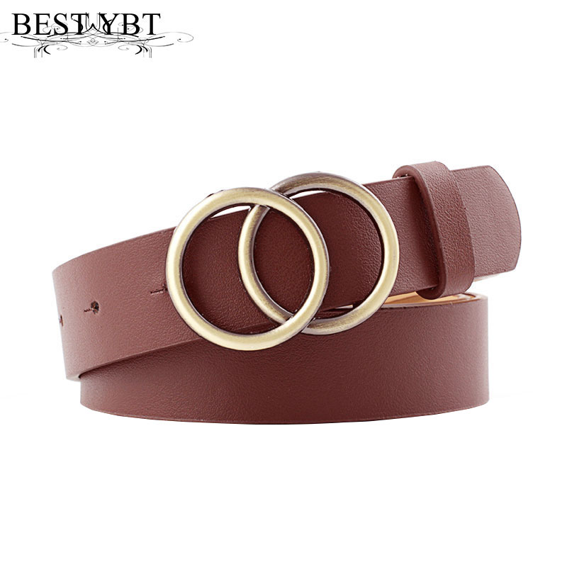 Best YBT Designer's Famous Brand Leather High Quality Belt Fashion Alloy Double Ring Circle Buckle Girl Jeans Dress Wild Belts
