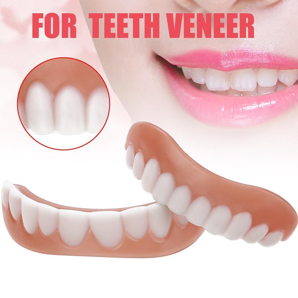 1 Set Smile Denture Cosmetic Teeth Comfortable Veneer Cover Smile Teeth Snap On Teeth Whitening Denture Cosmetic P7F2